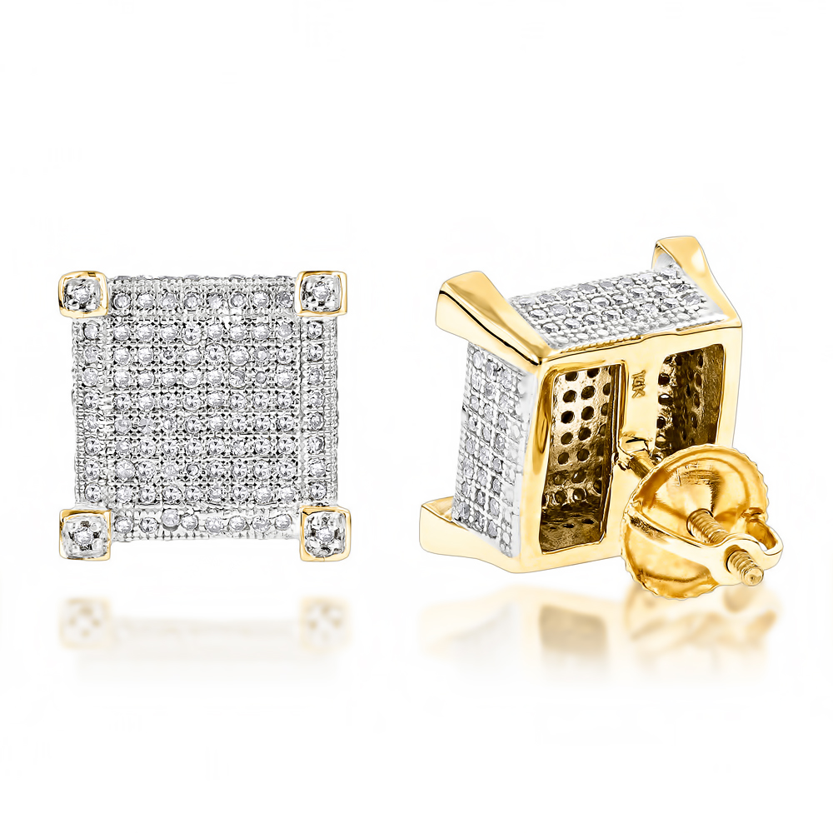 Real 14K Gold Diamond Stud Earrings 0.85ct