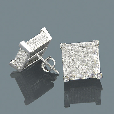 Real Diamond Earrings 14K Diamond Stud Earrings 1.39