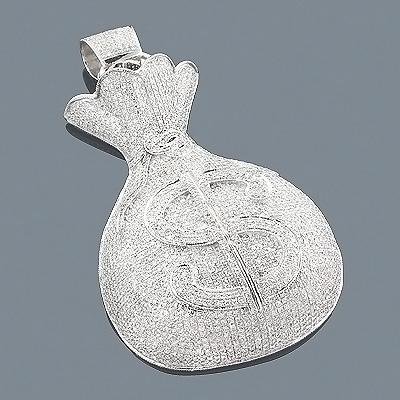 Real Hip Hop Jewelry 10K Diamond Money Bag Pendant 8.25