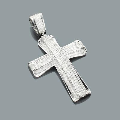 Real Hip Hop Jewelry: Large Silver Diamond Cross Pendant 1.66ct