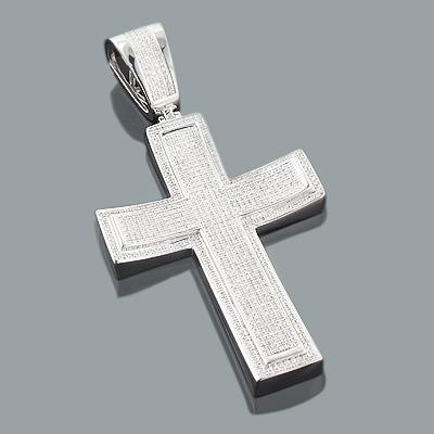 Real Hip Hop Jewelry: Large Silver Diamond Cross Pendant 1.77ct
