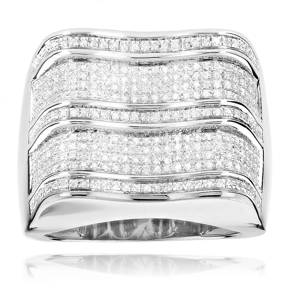 Real Hip Hop Rings: Mens Silver Diamond Ring 0.7ct