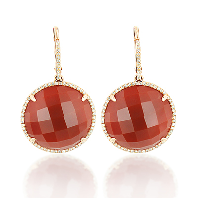 Red Agate Round Dangle Earrings with Diamonds 0.45ct 14K Gold