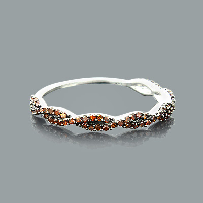 Ultra Thin Red Diamond Twist Ring 0.28ct 14K Stackable