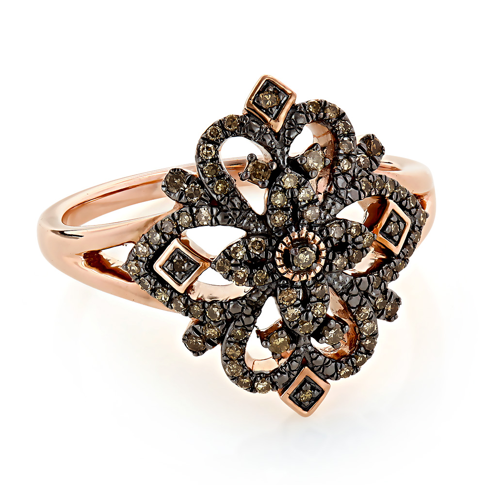 Right Hand Rings Collection: Ornament Champagne Diamond Ring for Women