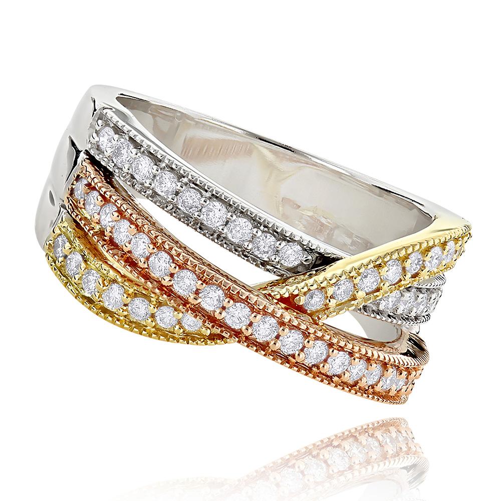 Right Hand Rings: Ladies Diamond Ring 0.6ct 14K White Yellow Rose Gold