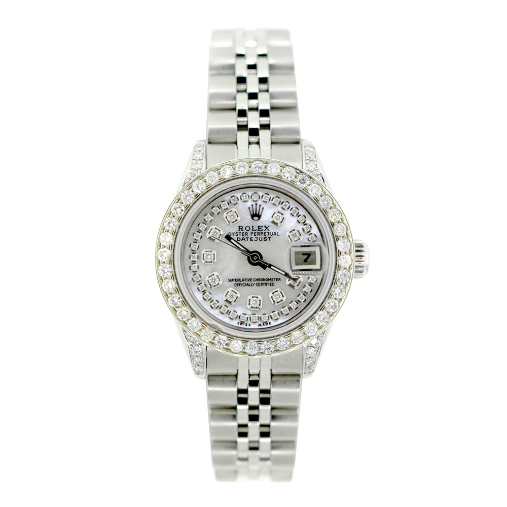 Rolex Datejust Iced Out Diamond Watch for Women 2.2ct Stainless Steel 26mm
