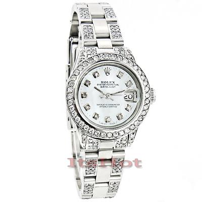 Rolex Datejust Ladies Custom Diamond Watch 7.25ct