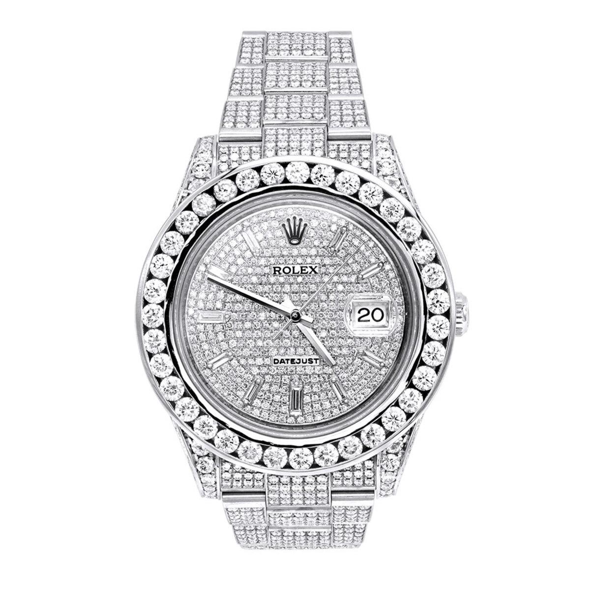 Rolex Datejust Mens Custom Diamond Watch 25.2ct Iced Out