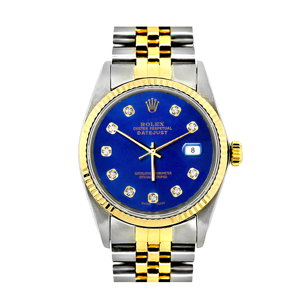 Rolex Datejust Mens Custom Diamond Watch Stainless Steel and 18K Gold