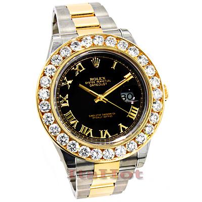 Rolex Datejust Two Tone 18K Gold Mens Custom Diamond Watch 9ct