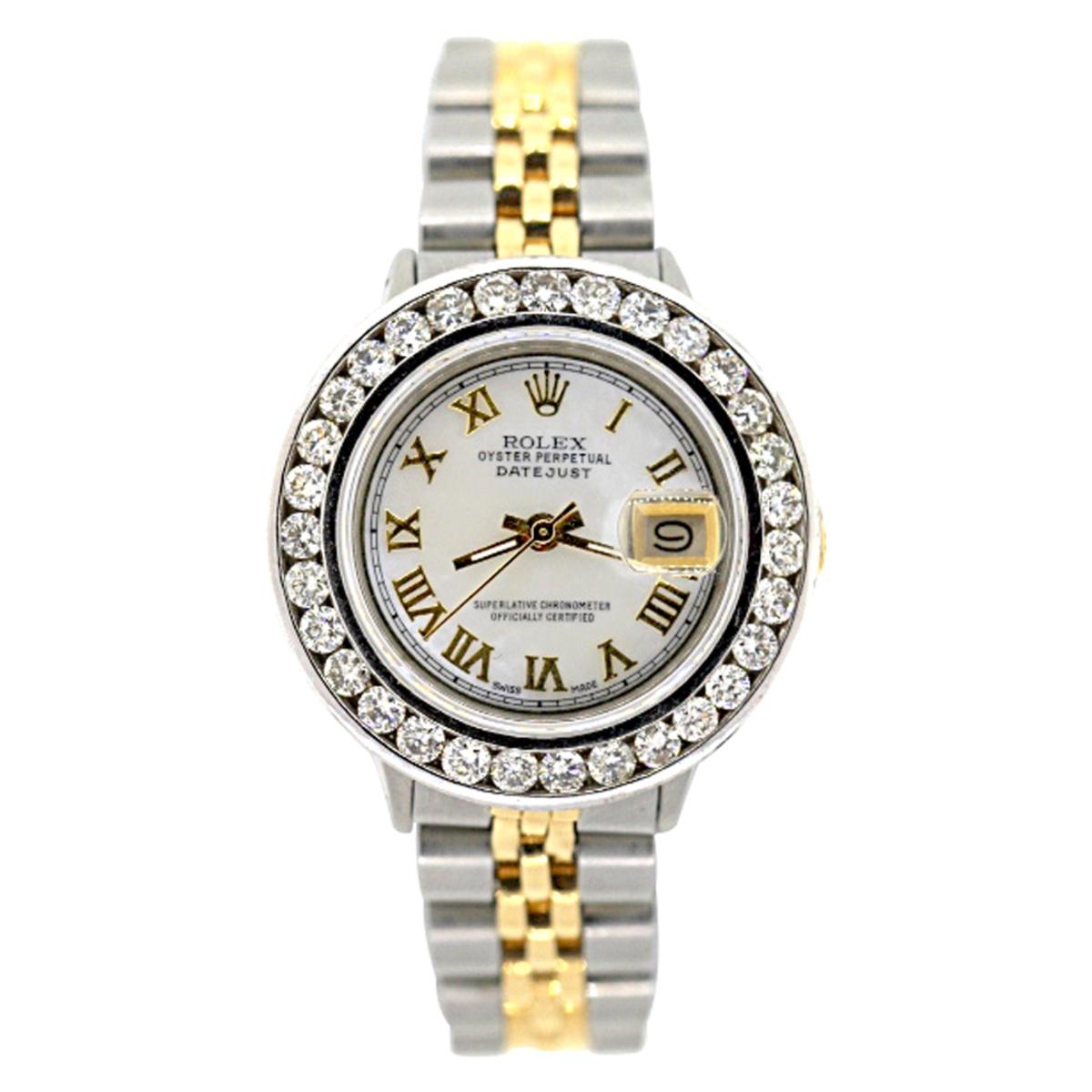 Rolex Datejust Womens Diamond Watch 2ct White MOP Steel and 18k Gold