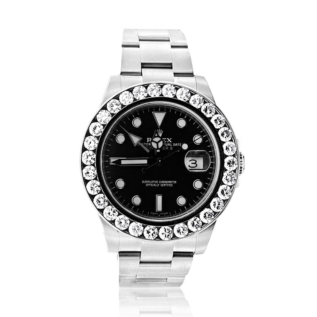 Rolex Explorer II Mens Diamond Bezel Watch Stainless Steel Black Dial 5ct