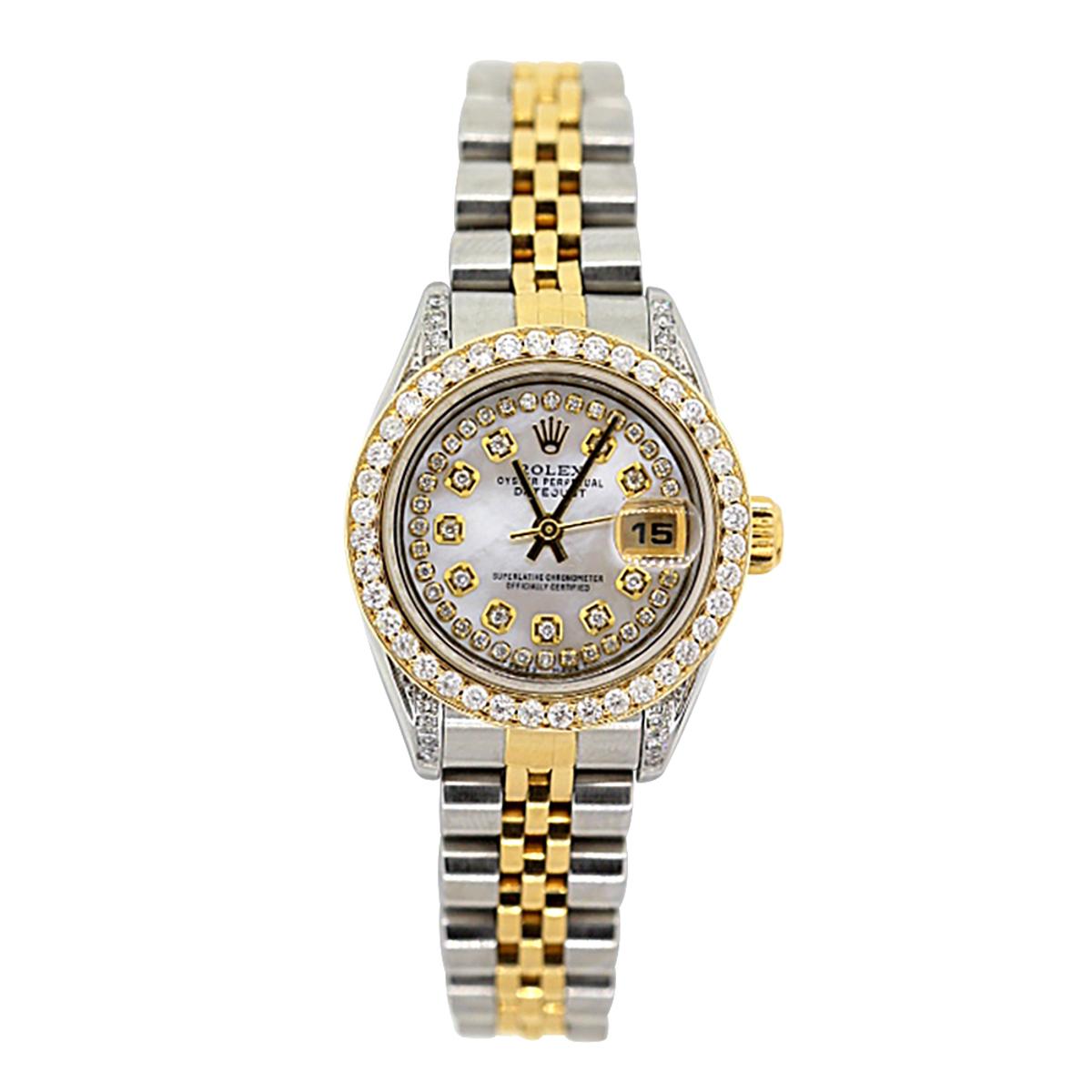 Rolex Oyster Perpetual Datejust Ladies Diamond Watch 2.2ct 18k Gold & Steel