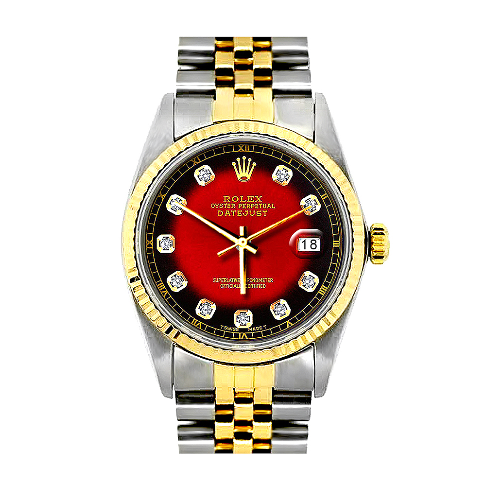 Rolex Oyster Perpetual Datejust Mens Diamond Watch Red Dial 18K Gold