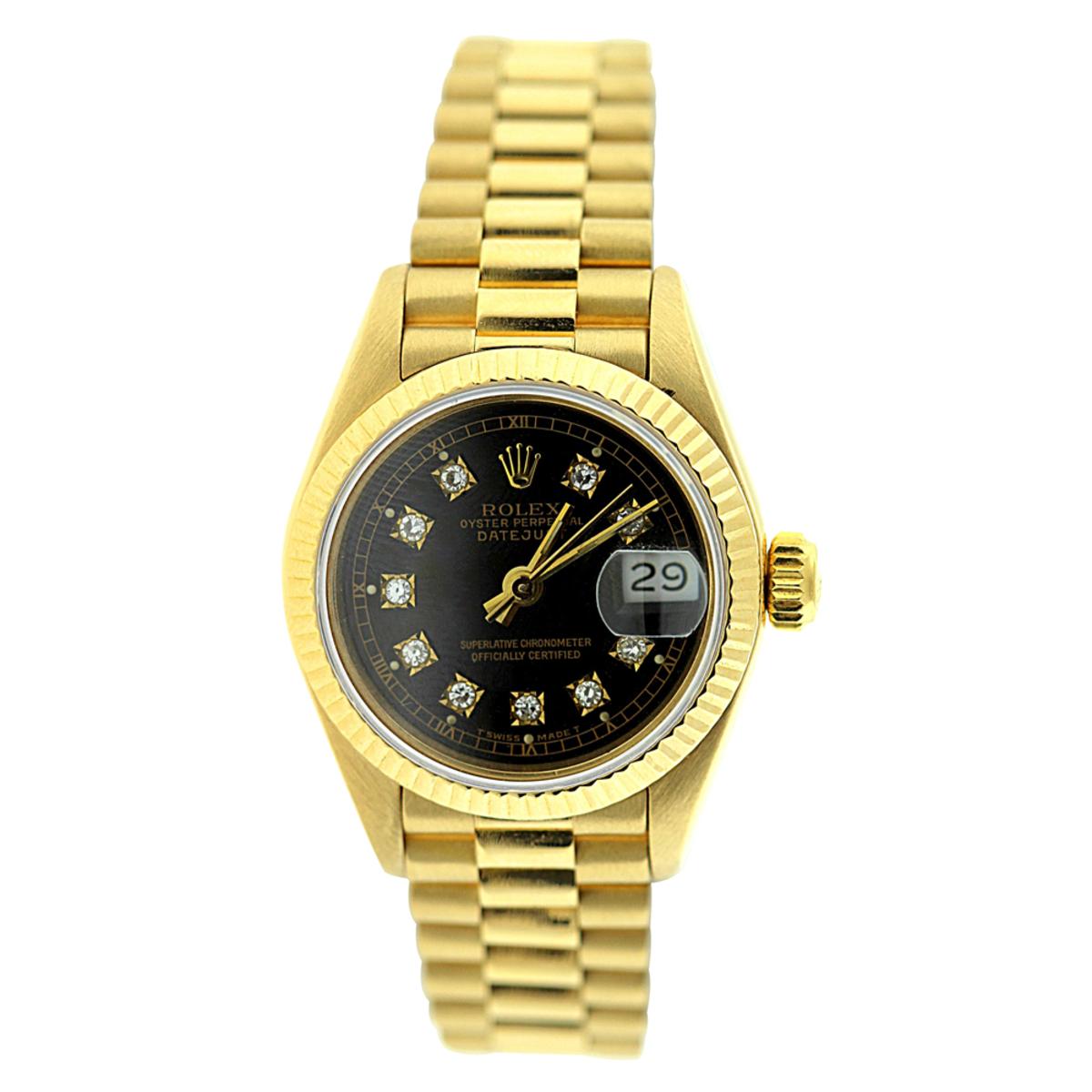 Rolex Presidential Datejust 18K Yellow Gold Womens Diamond Watch 0.1ct