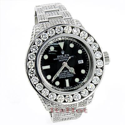 Rolex Sea Dweller DeepSea Mens Custom Diamond Watch 32.55ct