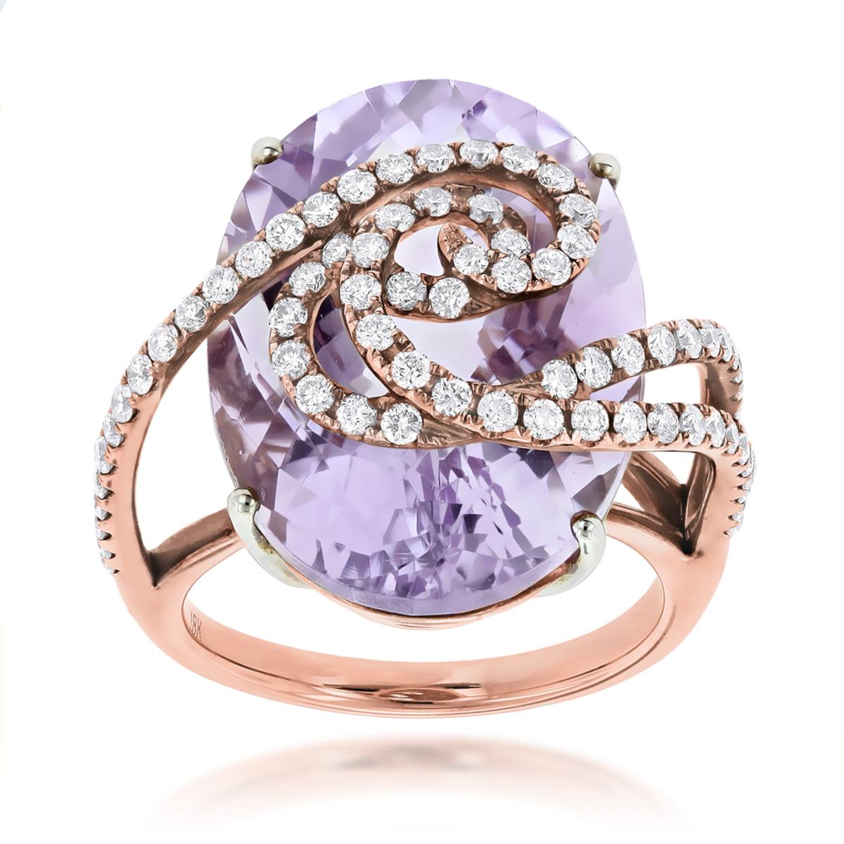Rose Gold Amethyst Diamond Ring for Women 14K Gold 1.1ct