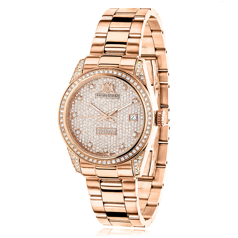 Rose Gold Plated Real Diamond Watch for Women 1.5ct Luxurman Tribeca