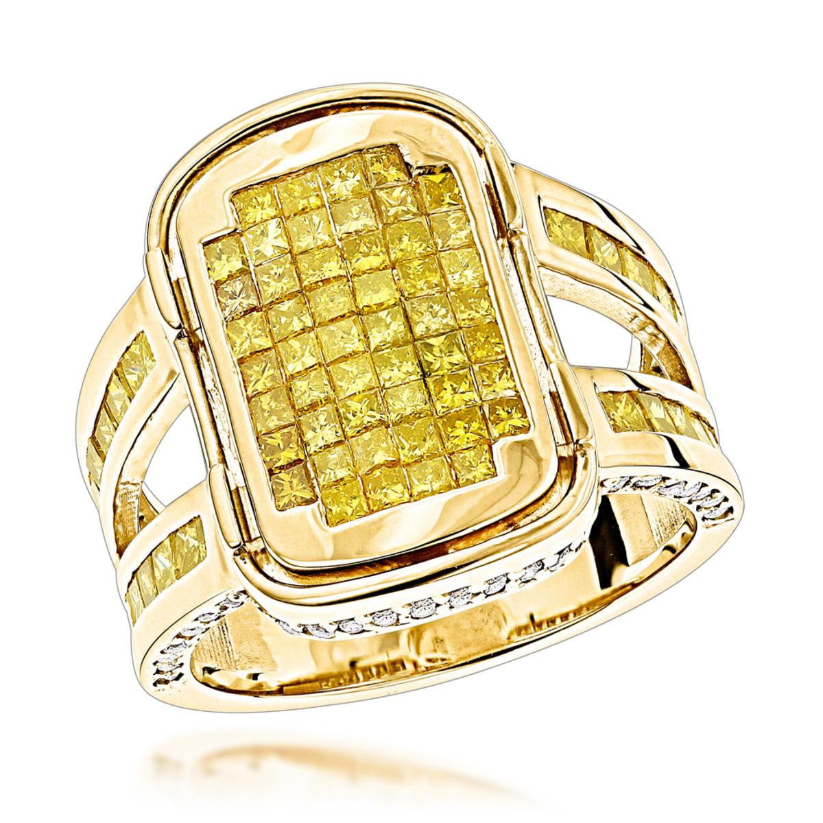 Rose Gold Yellow Diamond Ring 14K 2.58ct