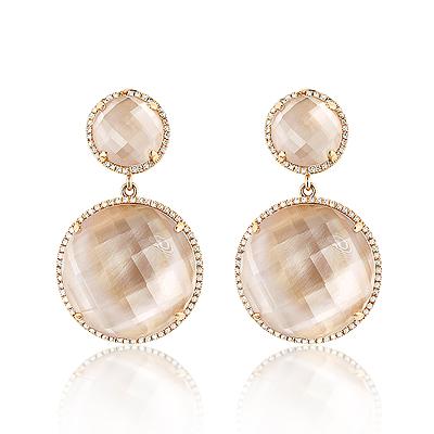 Rose Quartz Dangle Diamond Earrings 0.55ct 14K Gold