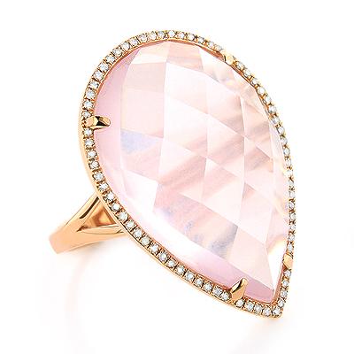 Rose Quartz Gemstone Jewelry: Diamond Cocktail Ring 0.25ct 14K Gold