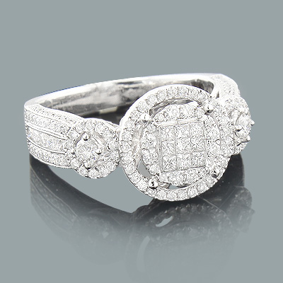Round and Princess Cut Diamond Engagement Ring 1.18ct 14K