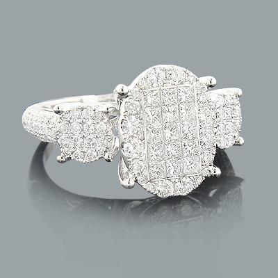 Round and Princess Cut Diamond Engagement Ring 1.47ct 14K