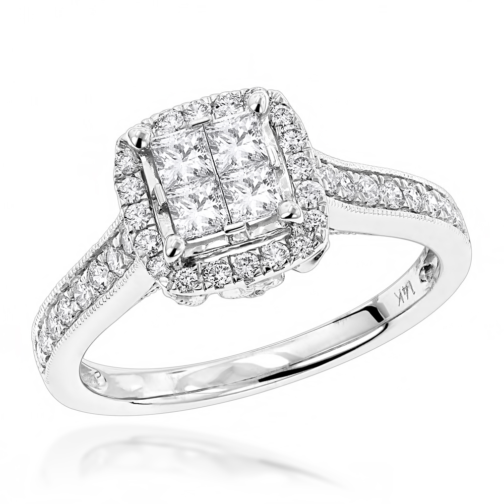 Round and Princess Cut Diamond Engagement Ring with Leaf Design 14k Gold