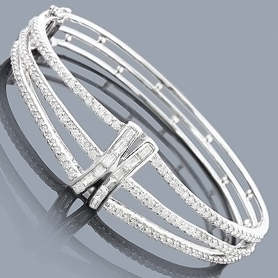 yg triple bangles jaimie geller bangle bracelets jewelry diamond bezel baguette