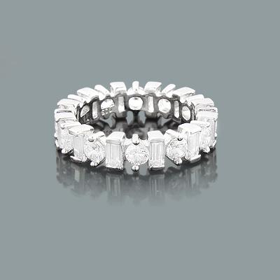 Thin Round Baguette Diamond Eternity Rings: Designer Band 3.60ct 14K