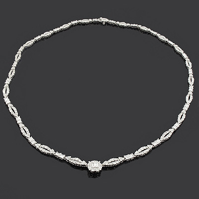 Round Baguette Diamond Necklace 8.59ct 18K Gold