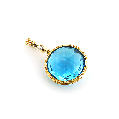 Round Blue Topaz Diamond Pendant 0.03ct 14K Gold