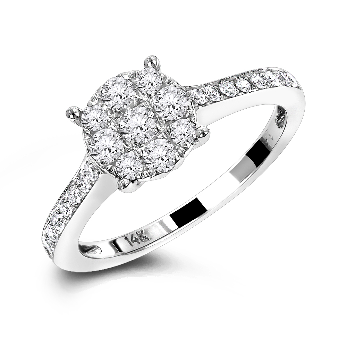 Round Cluster Diamond Engagement Ring 0.55ct 14K Gold
