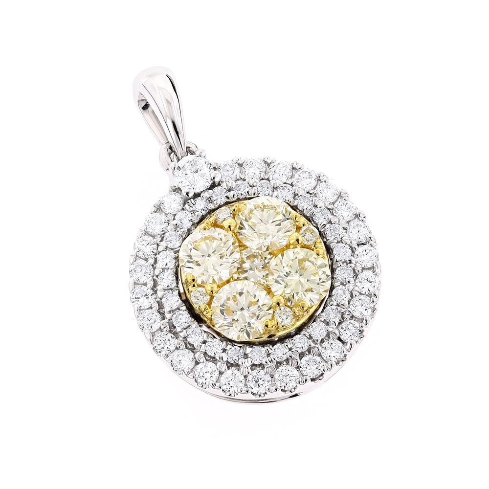 Round Diamond Circle Pendant for Women White Yellow Diamonds 14k Gold 1.3ct