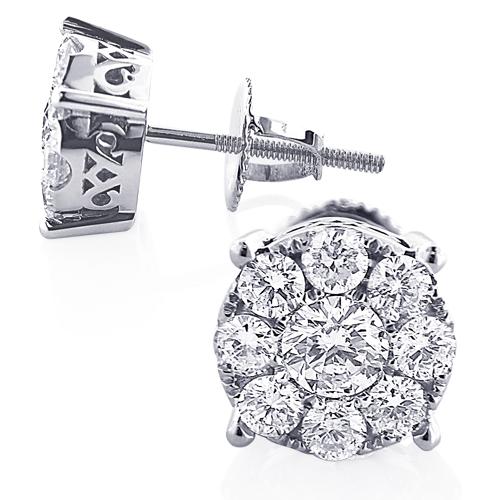 Round Diamond Cluster Stud Earrings 1.61ct 14K Gold