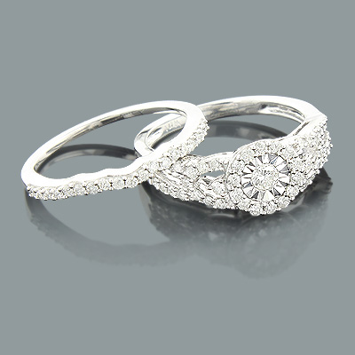 Round Diamond Engagement Ring Set 10K 0.87ct