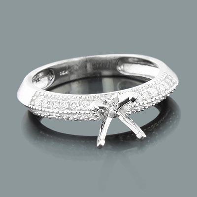 Thin Round Diamond Engagement Ring Setting 0.14ct 14K Gold