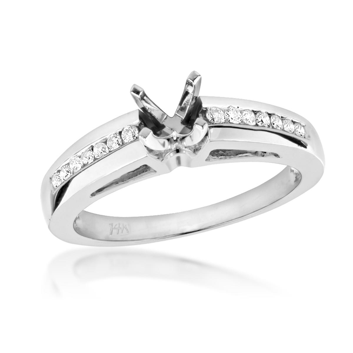 Round Diamond Engagement Ring Setting 0.25ct 14k Gold Mounting