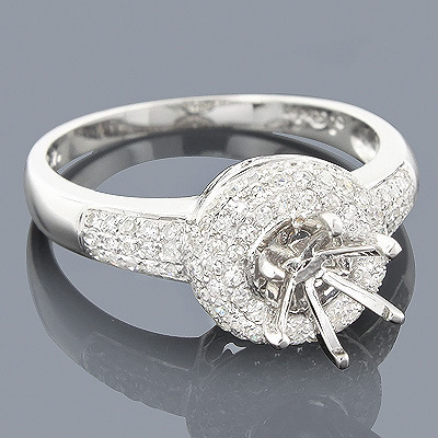 Halo Round Diamond Engagement Ring Setting 0.49ct 14K Gold