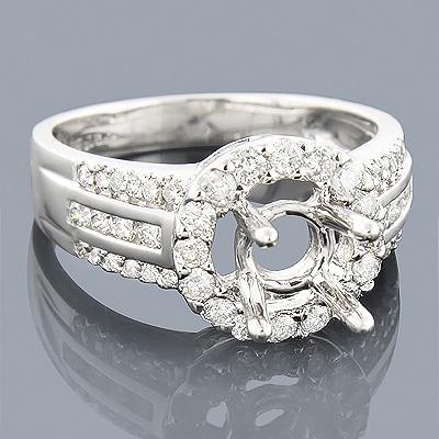 Halo Round Diamond Engagement Ring Setting 0.81ct 14K