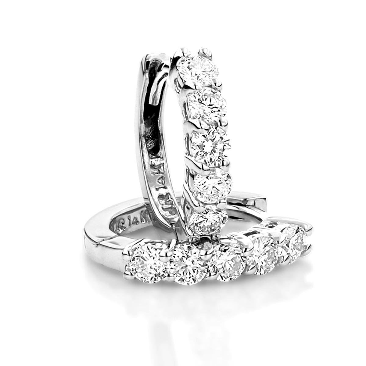 Round Diamond Huggie Earrings Hoops 0.75ct 14k Gold