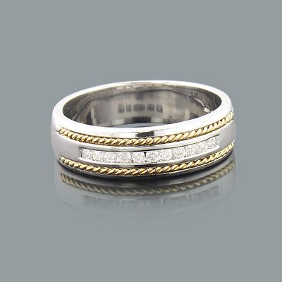 Round Diamond Mens Wedding Band 0.40ct 14K Gold