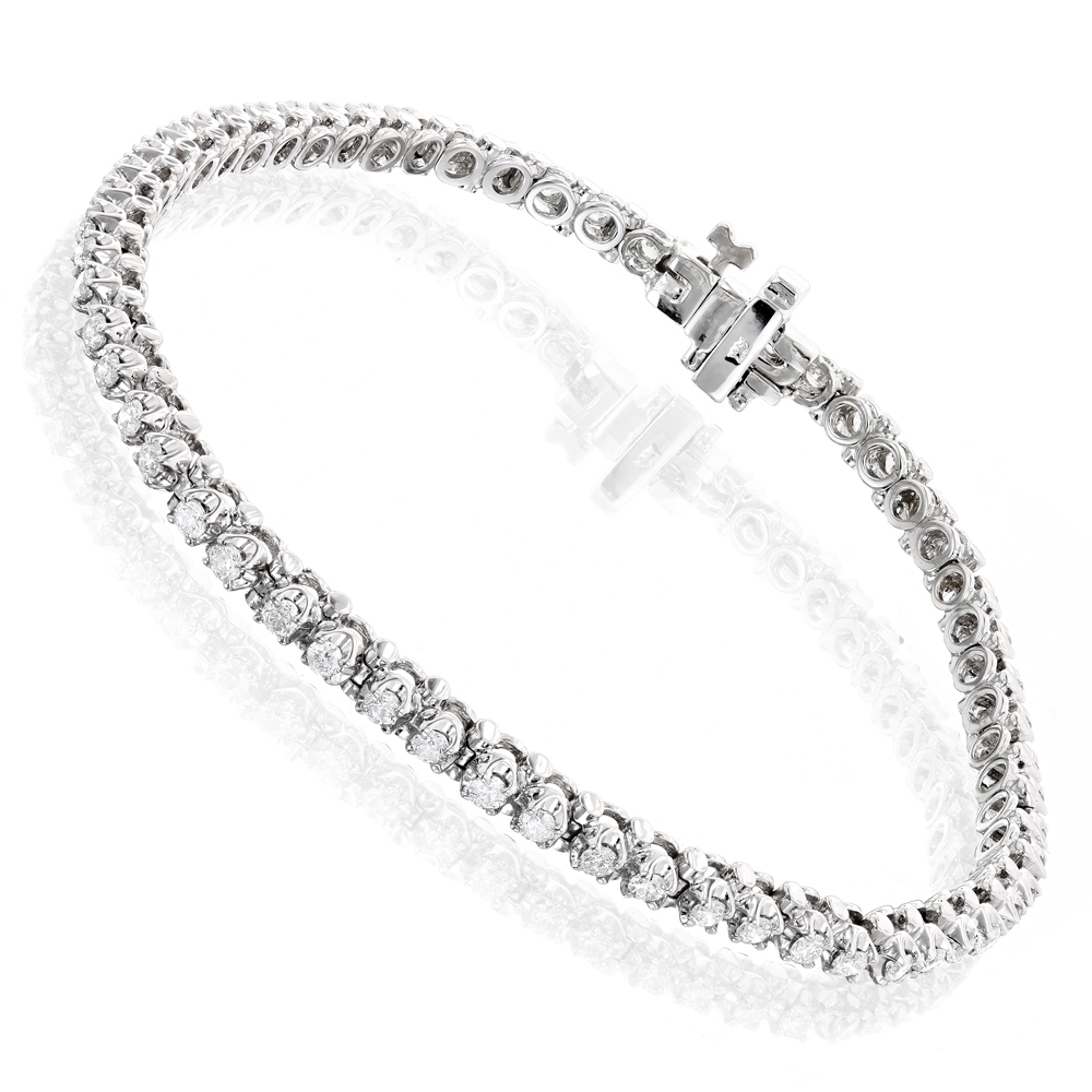Round Diamond Tennis Bracelet in White Gold Yellow Gold Rose Gold 1.5ct 10K