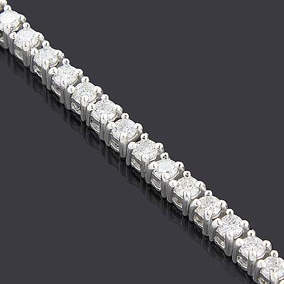 Round Diamond Tennis Necklace Chain 14K 14.06ct