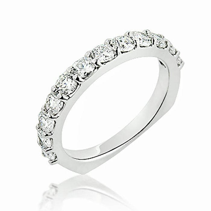 Thin Round Diamond Wedding Band 1.10ct 14K Flat Bottom Rings