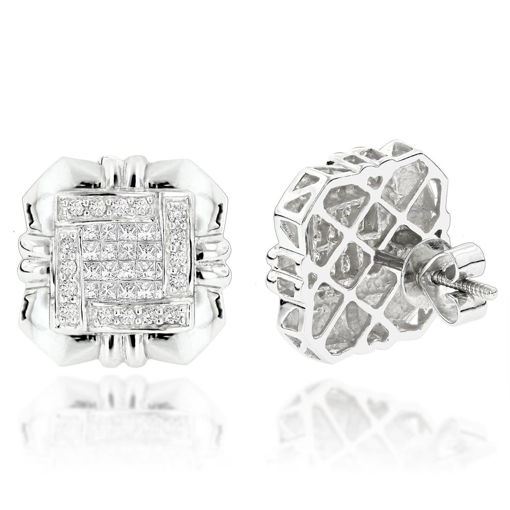 Round Princess Cut Diamond Earrings 1.25ct 14K Gold