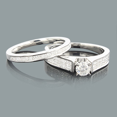 Round Princess Cut Diamond Engagement Ring Set 1.06ct 14K