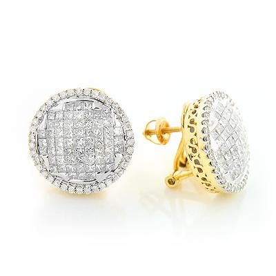 Round Princess Cut Diamond Stud Earrings 2.82ct 14K