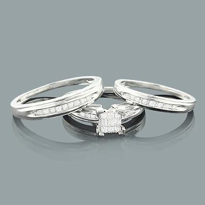 Round Princess Cut Diamond Trio Ring Set 0.47ct 14K Gold